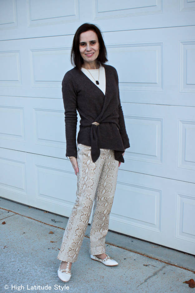 waterfall cardigan, trousers and sweater outfit