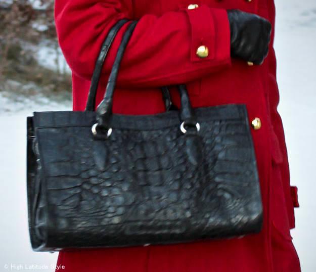 bag and pea coat details
