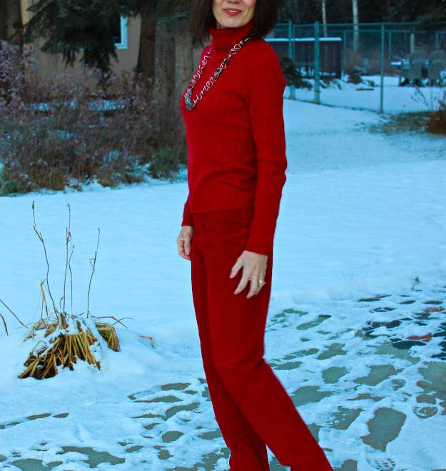 #over40fashion Alaskan wearing a monochromatic red work outfit
