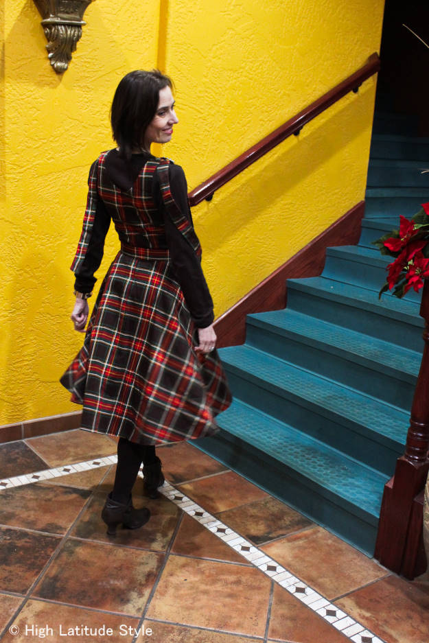 midlife fashion blogger in Voodoo Vixen plaid christmas dress