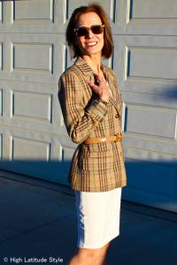 #fashionover50 How to wear a summer dress in spring example plaid blazer with belt and dress @ High Latitude Style @ http://www.highlatitudestyle.com
