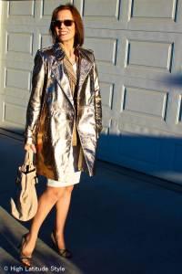 #LookbookStore, #fashionover40 #LeatherTrenchCoat How to wear metallic over 40 | High Latitude Style | http://www.highlatitudestyle.com