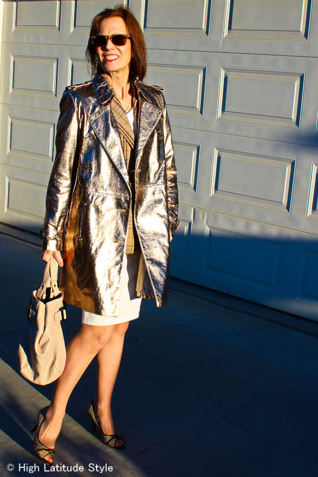 #fashionover50 midlife woman looking posh in shine during the day