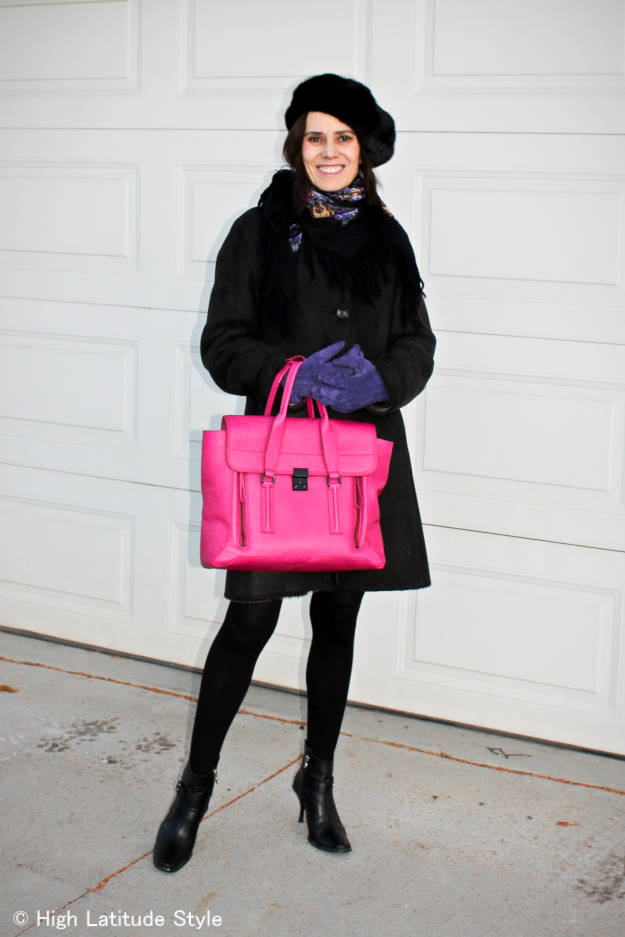 lifestyle blogger in a fashion forward winter look with pops of color