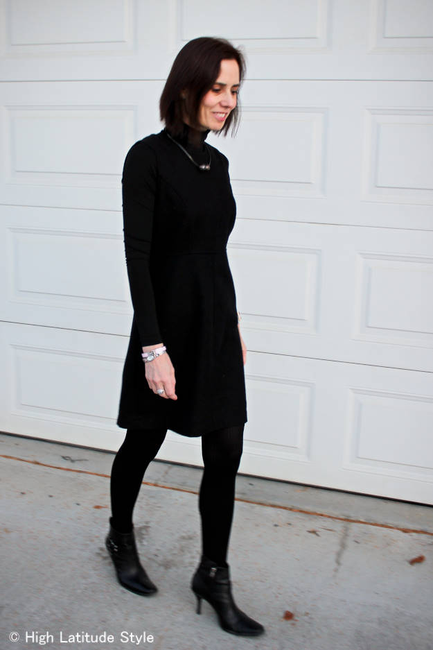 #Adea_everyday #over40 http://www.highlatitudestyle.com Mature woman in LBD and stiletto booties