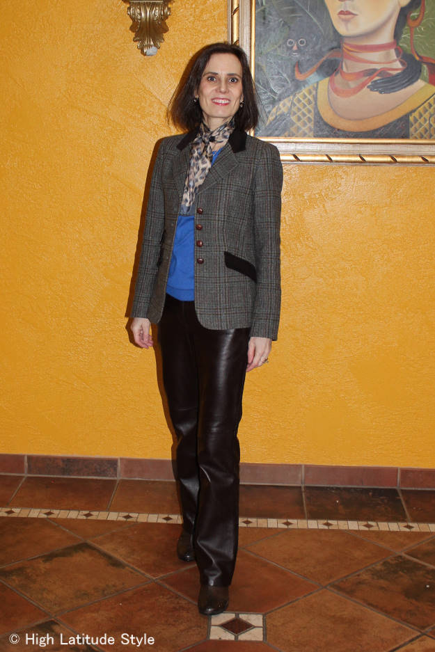 fashionover40 Work outfit with leather pants and blazer