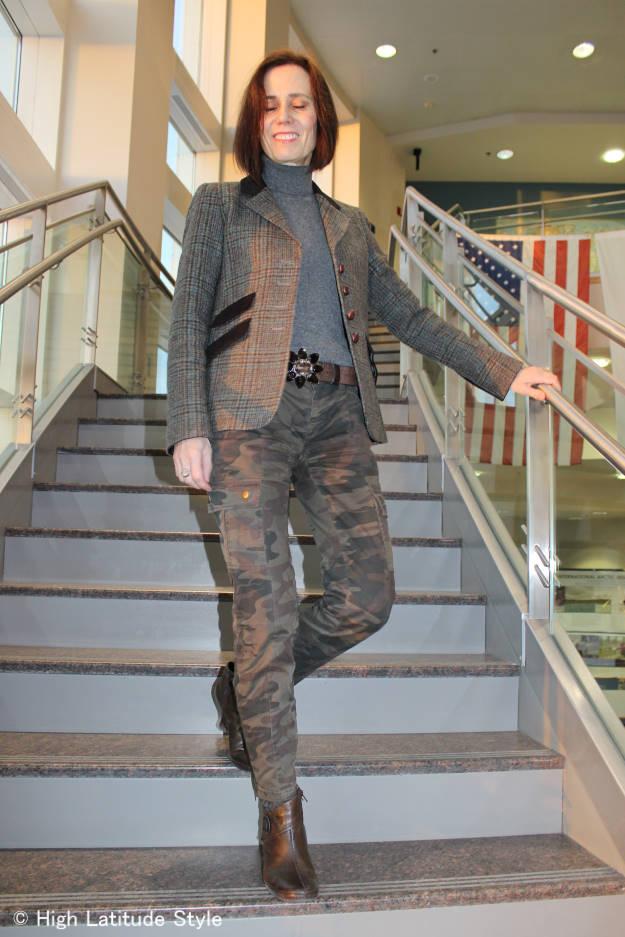 mature woman in Irish blazer with cargo pants