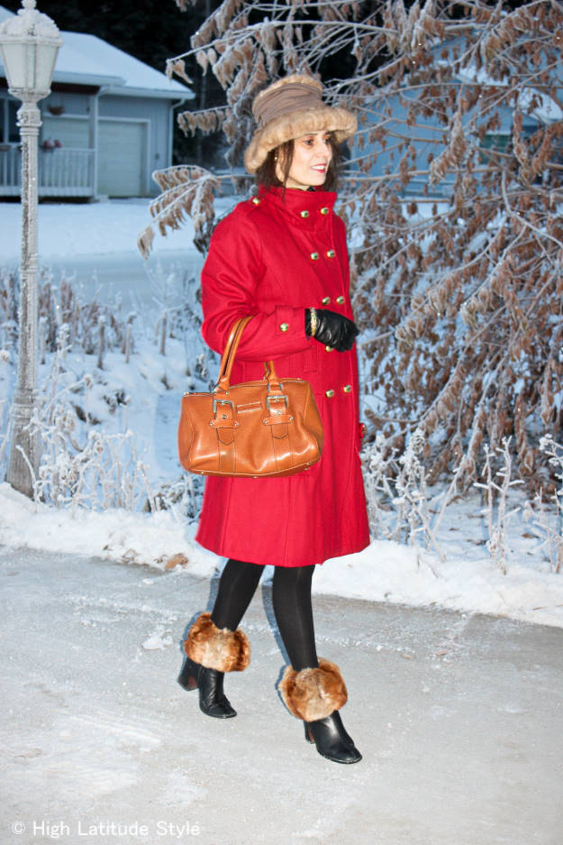 #fashionover50 midlife woman looking posh in a classic peacoat winter look