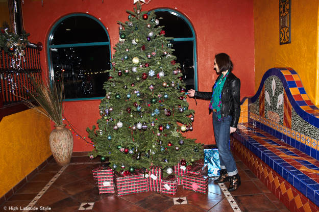 Christmas tree #over40 Casual look with BF jeans and motorcycle jacket | High Latitude Style | http://www.highlatitudestyle.com