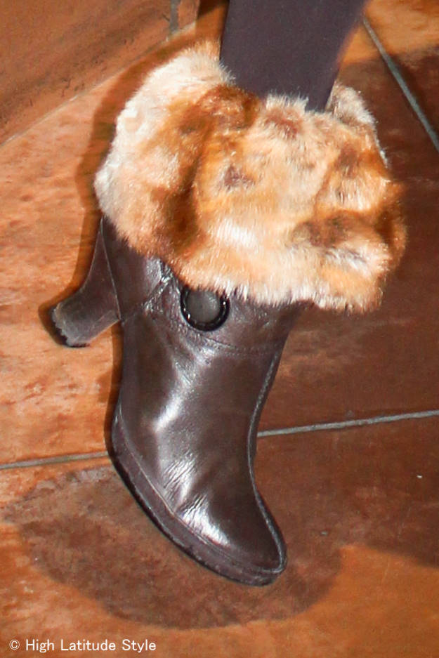 #heels low-heel booties with boot toppers for Casual Friday