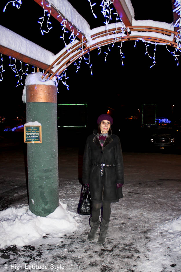 #fashionover50 winter outerwear to go to work in Alaska under aurora walkway