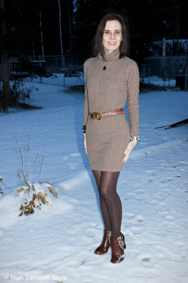 #fashionover40 woman in knitdress