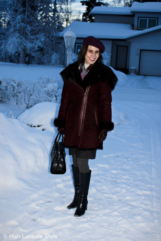 #maturefashion woman in winter coat, beret and scarf