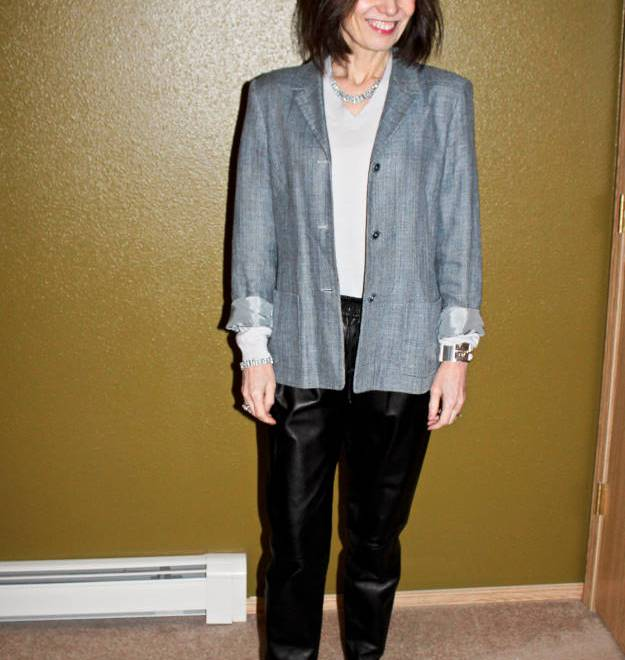 #fashion-over-40 Casual office look with leather joggers and blazer   High Latitude Style   http://www.highlatitudestyle.com