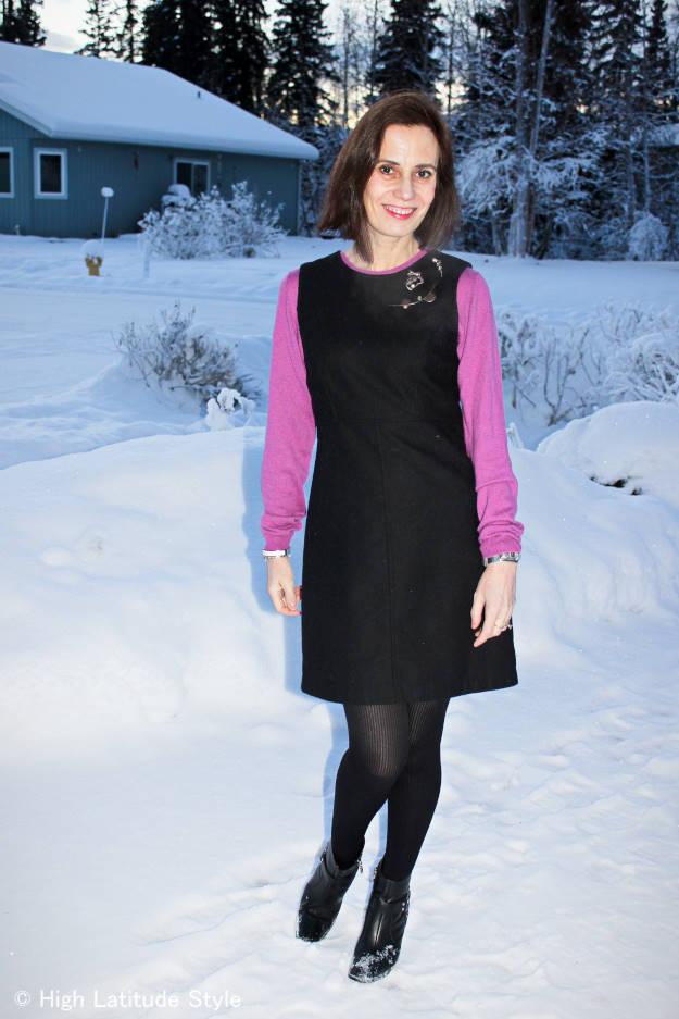 #fashionover40 Black sheath dress over pink sweater