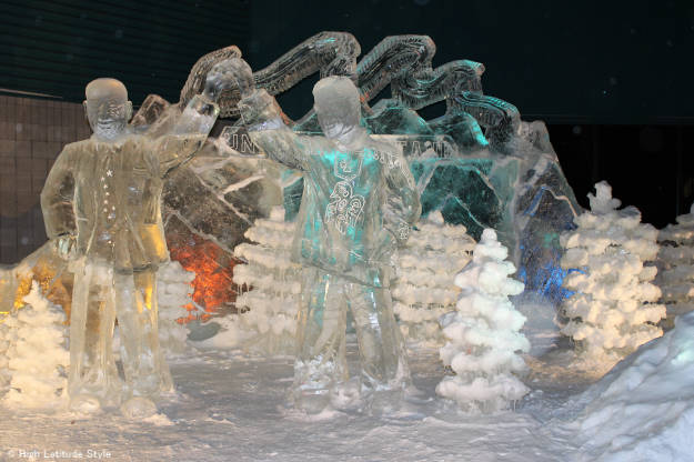Ice sculpture of Alaska's  Governor and Lt. Governor