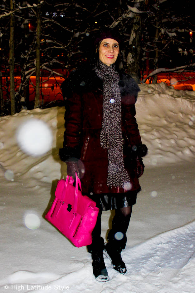 over 40 years old in winter outfit with shearling motorcycle coat