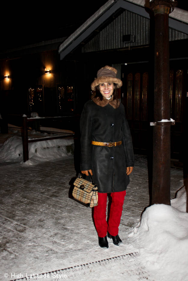 #over40fashion midlife woman in winter outerwear with a chic hat