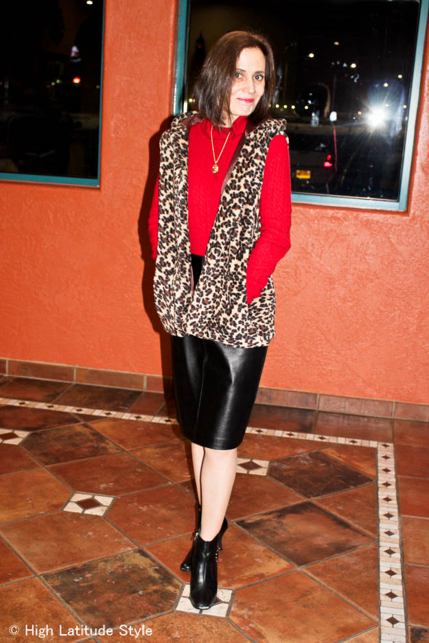#fashionover50 Covered Perfectly vest with leather skirt and turtleneck sweater for a chic winter office outfit