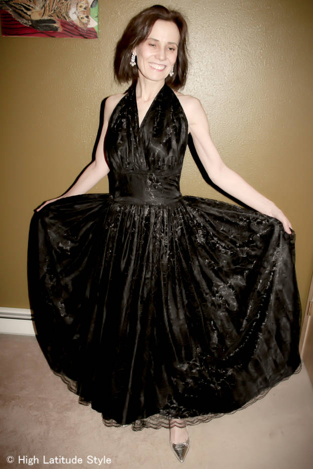 #fashionover50 evening gown in black lace