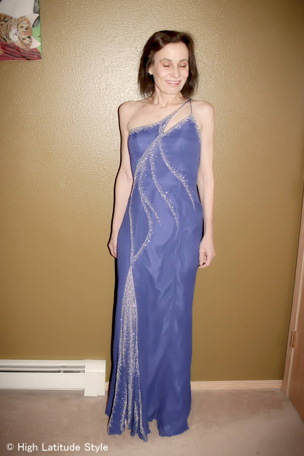 style blogger over 40 in a blue beaded evening gown for a sweetheart ball