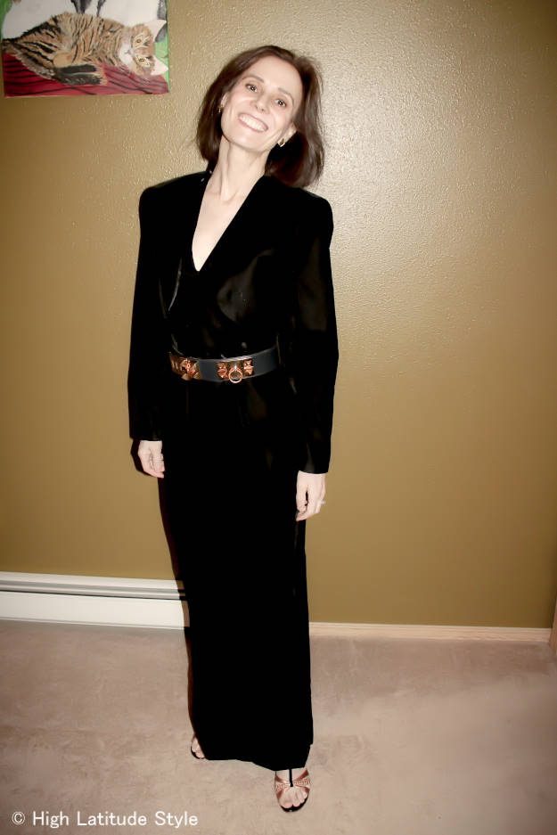 #styleover50 blogger Nicole in an evening gown with cropped jacket