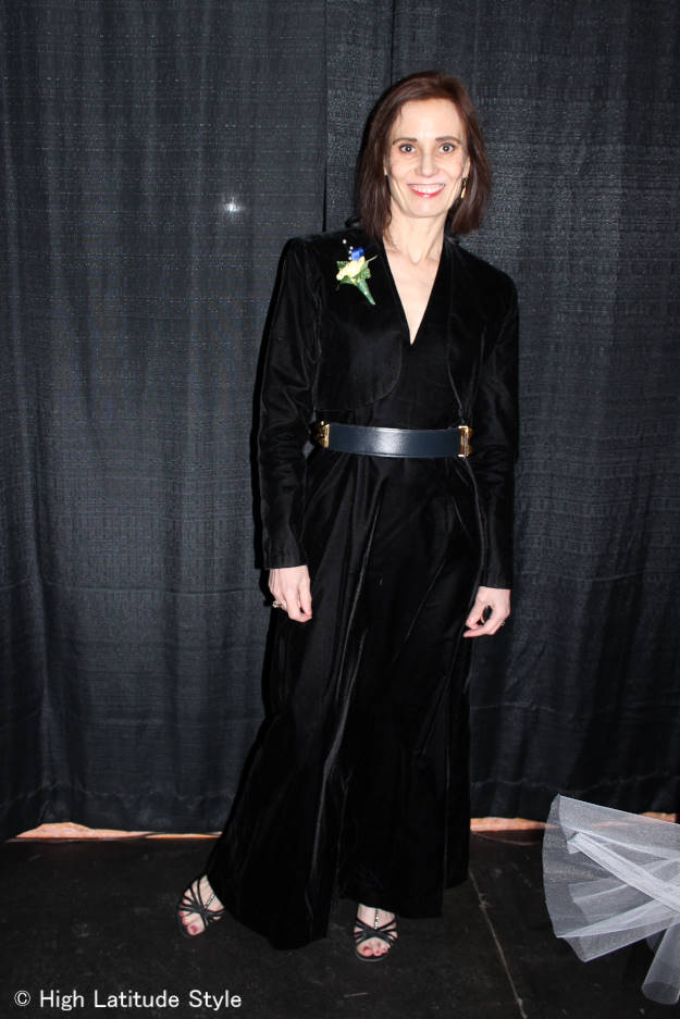 #agelessstyle woman wearing the velvet trend as ball attire