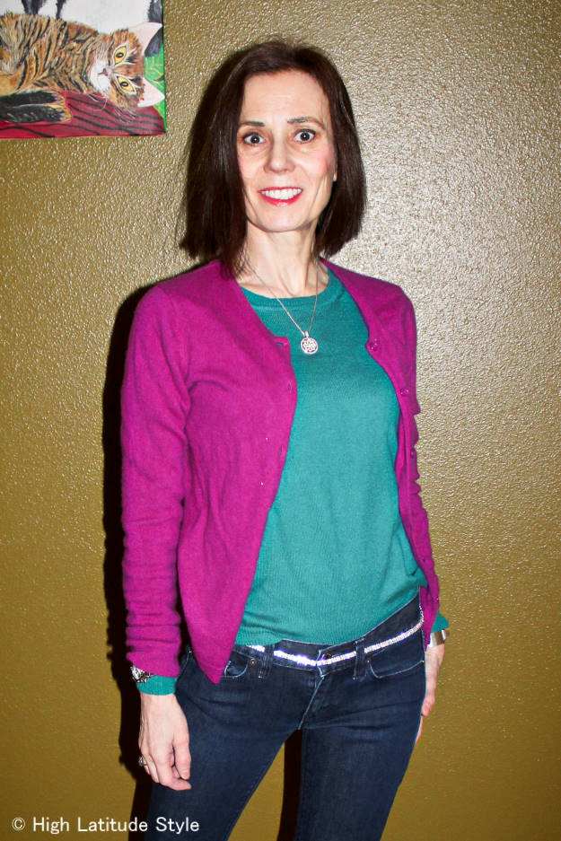#colorblocking #over50fashion Style blogger Nicole in a color blocked casual Friday look in teal, fuchsia and navy