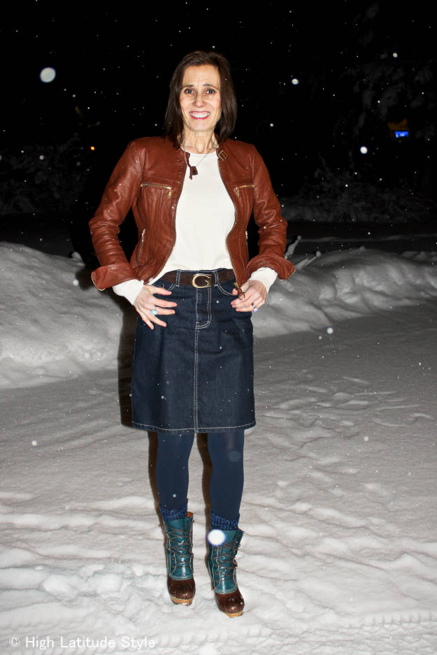 Denim skirt with tailored leather jacket