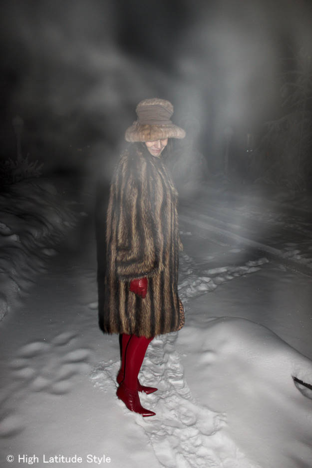 #styleover40 winter woman in winter outerwear in ice fog | High Latitude Style | http://www.highlatitudestyle.com