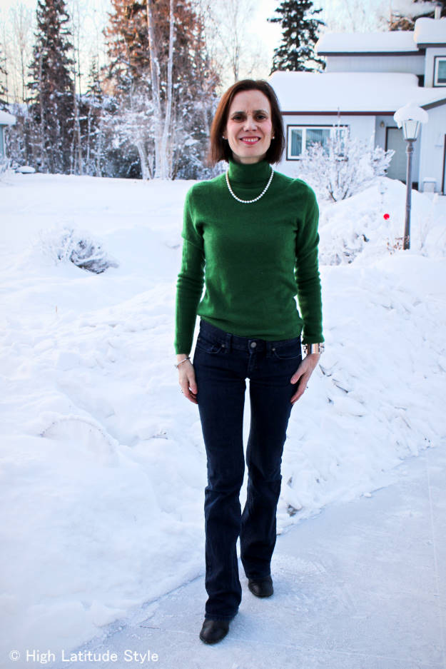 #Akoya pearls dressing up a casual Friday work outfit with boot-cut jeans and turtleneck sweater