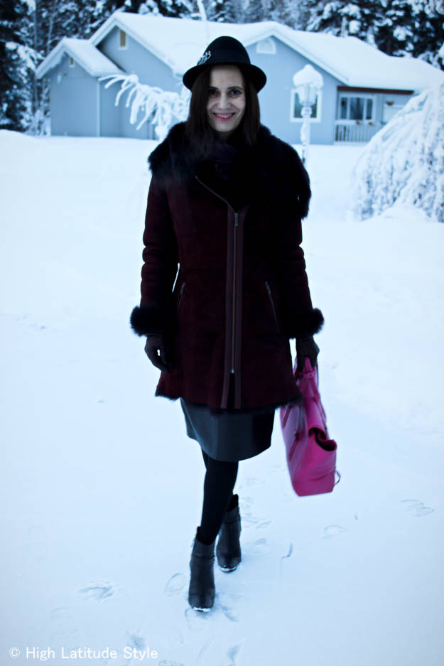 #fashionover50 woman in layered outerwear