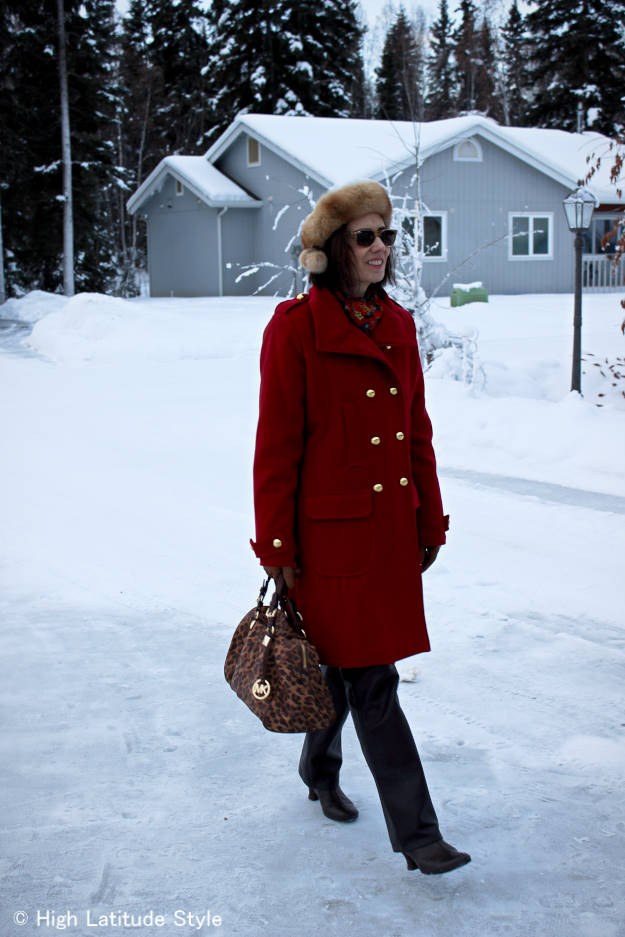 popular style blogger over 40 donning work appropriate winter outerwear