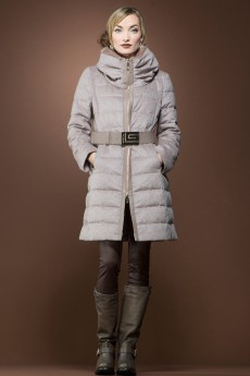 ML Furs Cupido Après-Ski Mid-Length Coat with Blue Fox Trim
