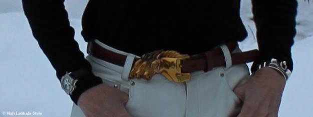 #fashionover40 three horses belt buckle