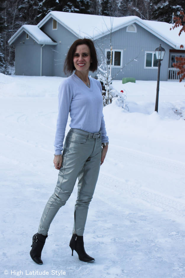 mature style blogger wearing silver leather pants