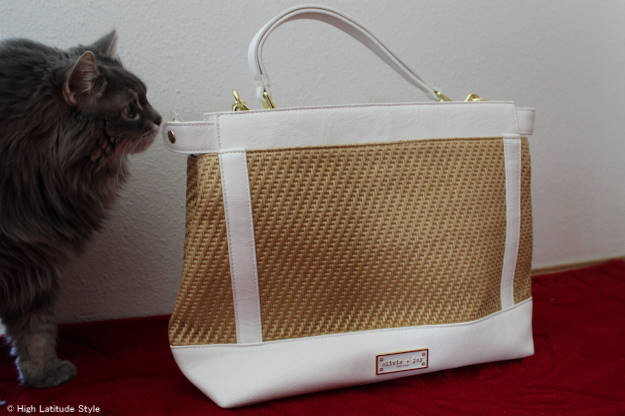 Olivia + Joy faux straw pleather bag details