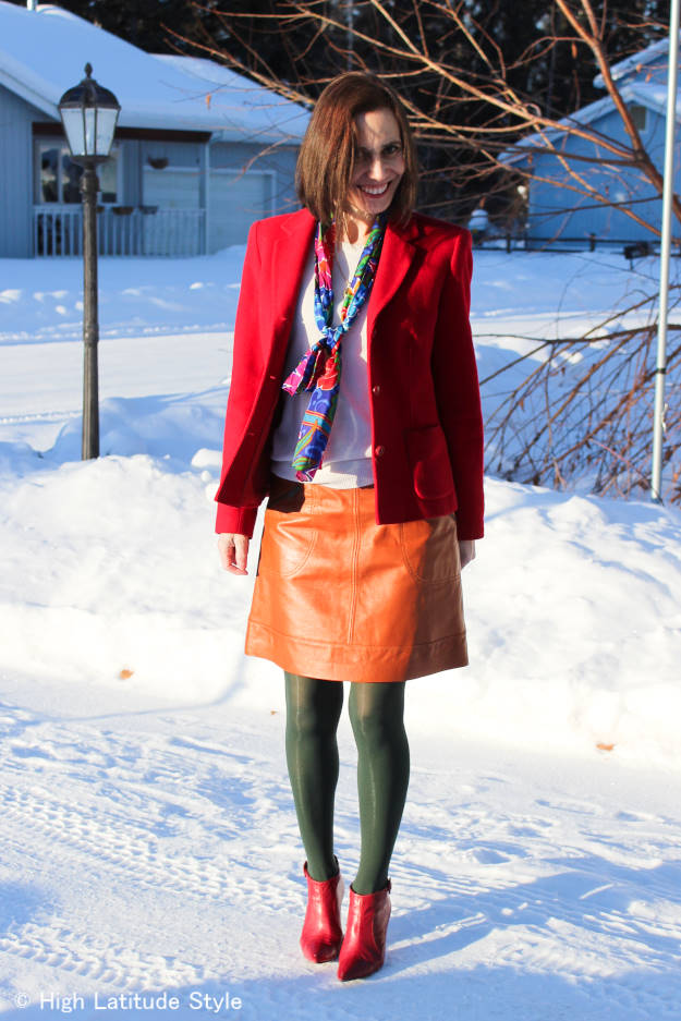 #styleover50 red blazer with scarf