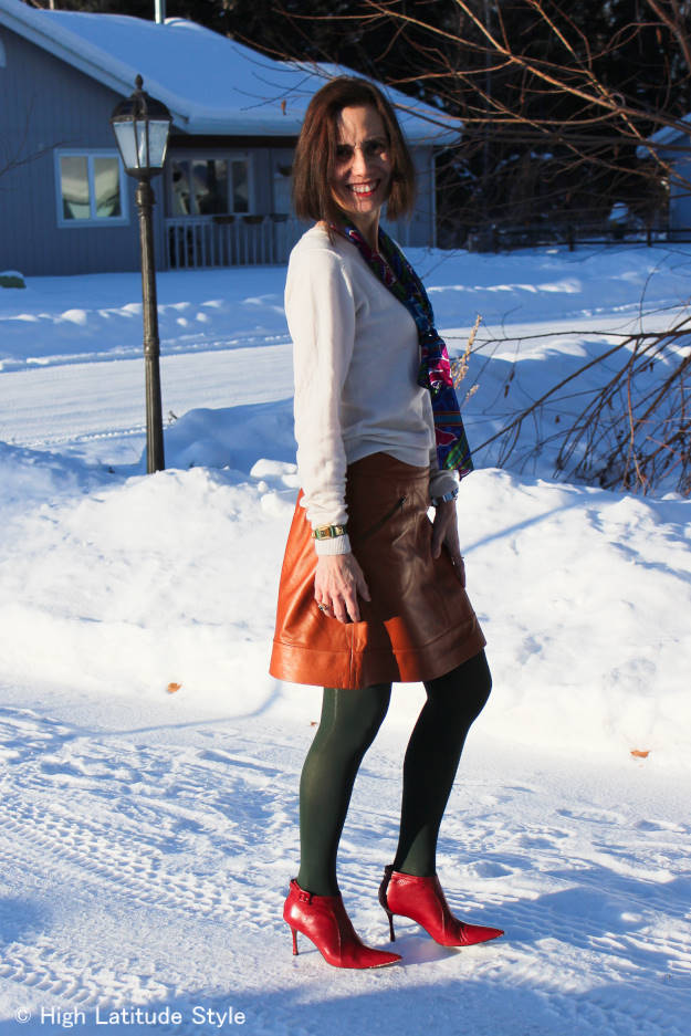 #fashionover40 casual outfit with oblong floral print silk scarf