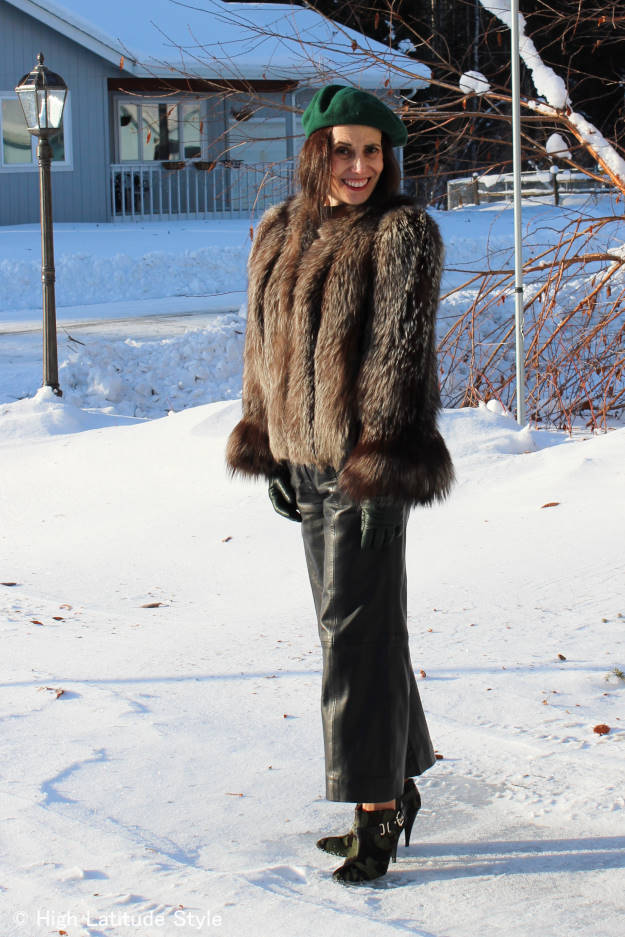 #fashionover50 woman in styled winter look for travel