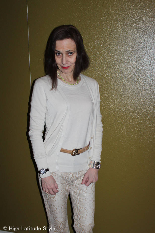 #fashionover50 mature work outfit with white cardigan