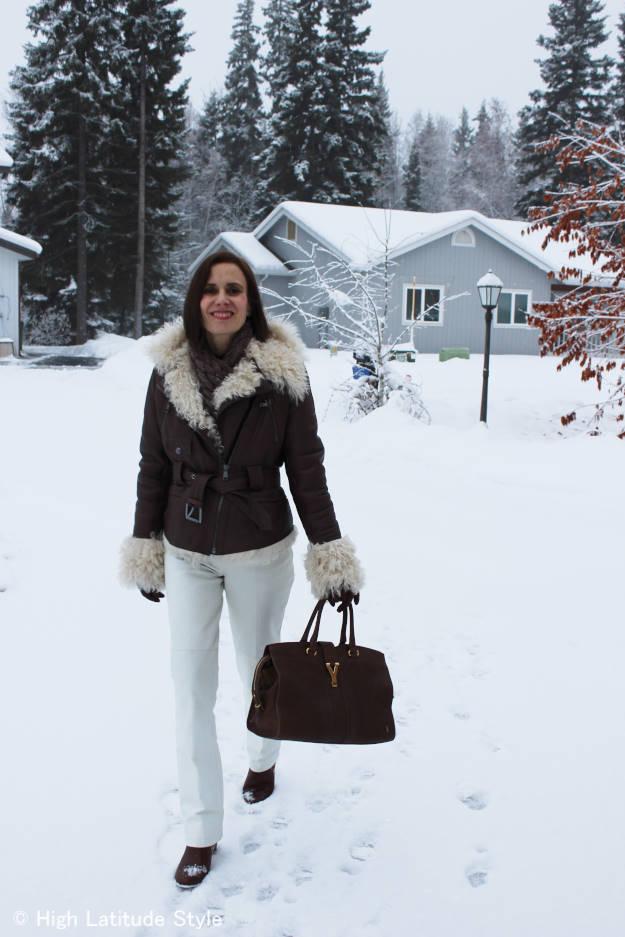 #fashionover50 white pants with motorcycle jacket