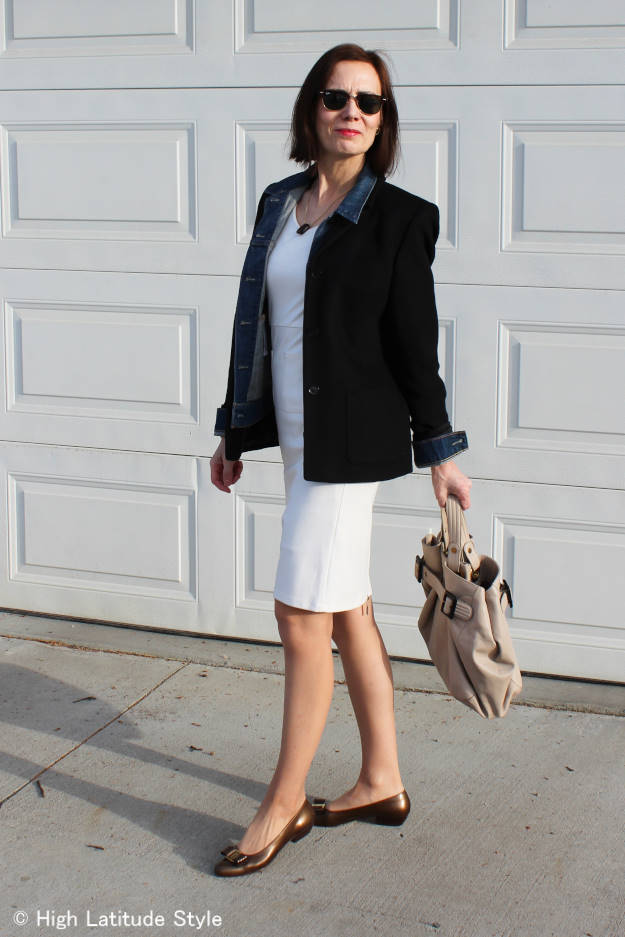 #fashionover50 Summer dress styled for spring to stay warm in the winter to spring transition season