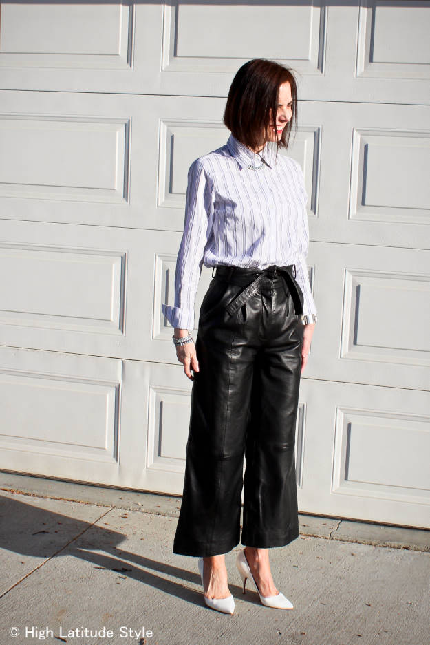 modern version of Katharine Hepburn culottes with shirt