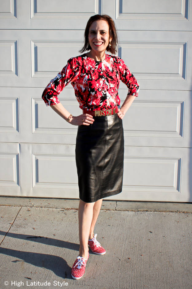 #midlifestyle mature woman wearing Keds and a skirt styled for Casual Friday