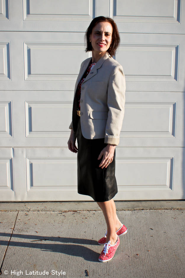 #fashionover40 posh casual work look with leather skirt and Keds