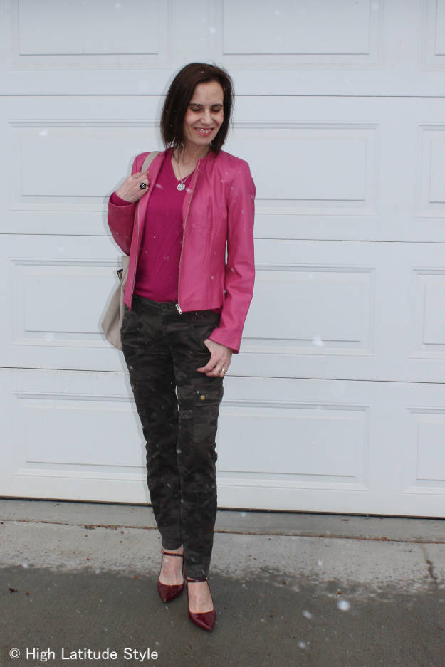 #over40 the beauty of pink with camouflage | High Latitude Style | http://www.highlatitudestyle.com