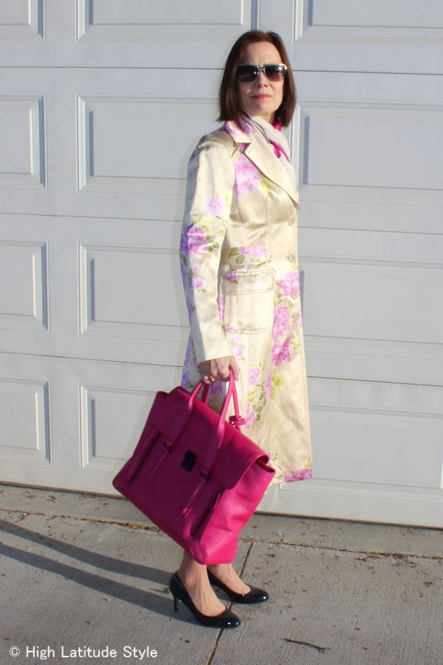 style over 40 woman in spring floral print coat