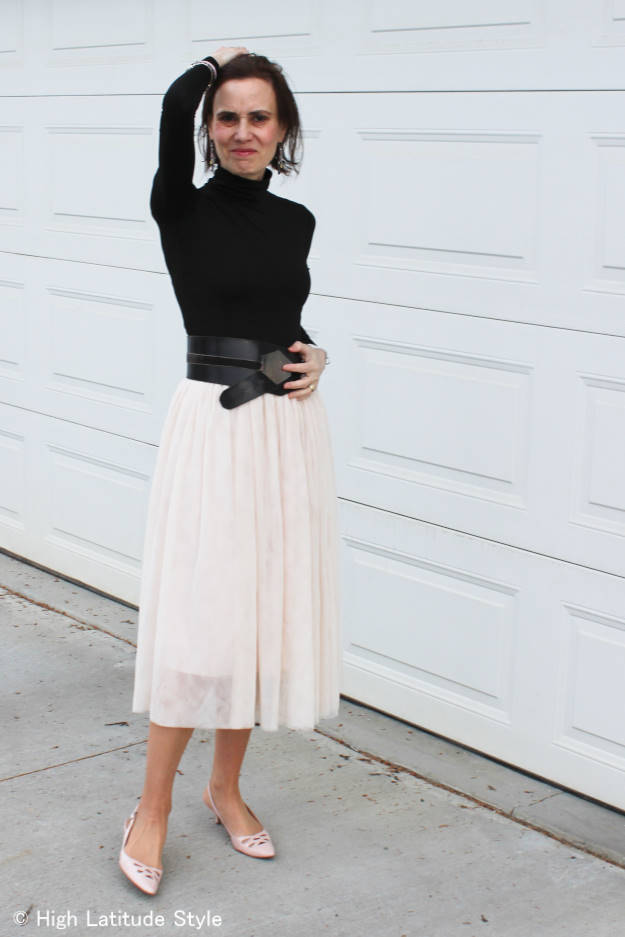 #styleover40 mature outfit with mesh skirt trend