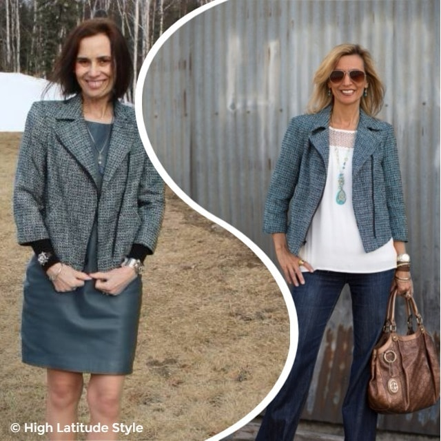 #fashionover50 Two women having the same jacket, but different style